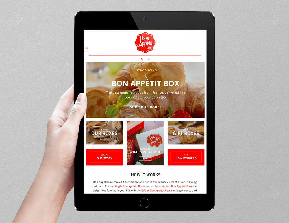 Bon Appétit Box branding, web design, ecommerce, and print collateral design