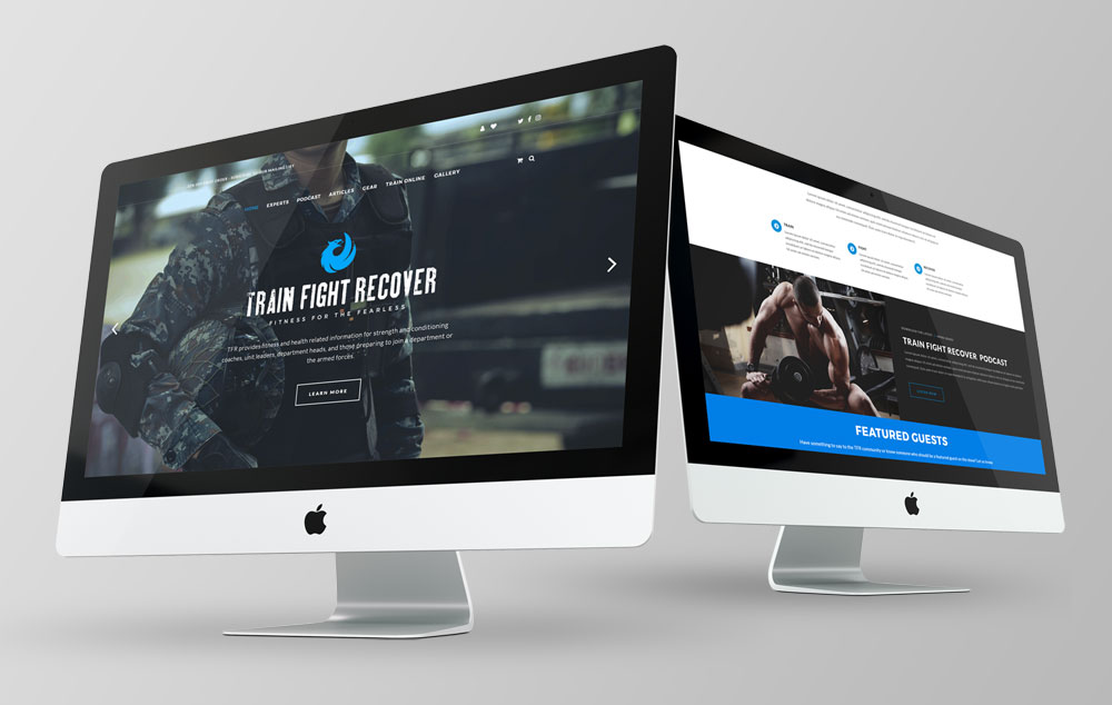 Train Fight Recover brand, print, and web design for fitness professionals