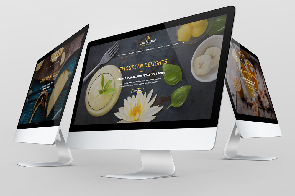 Lotus Catering web design development, branding, business card design