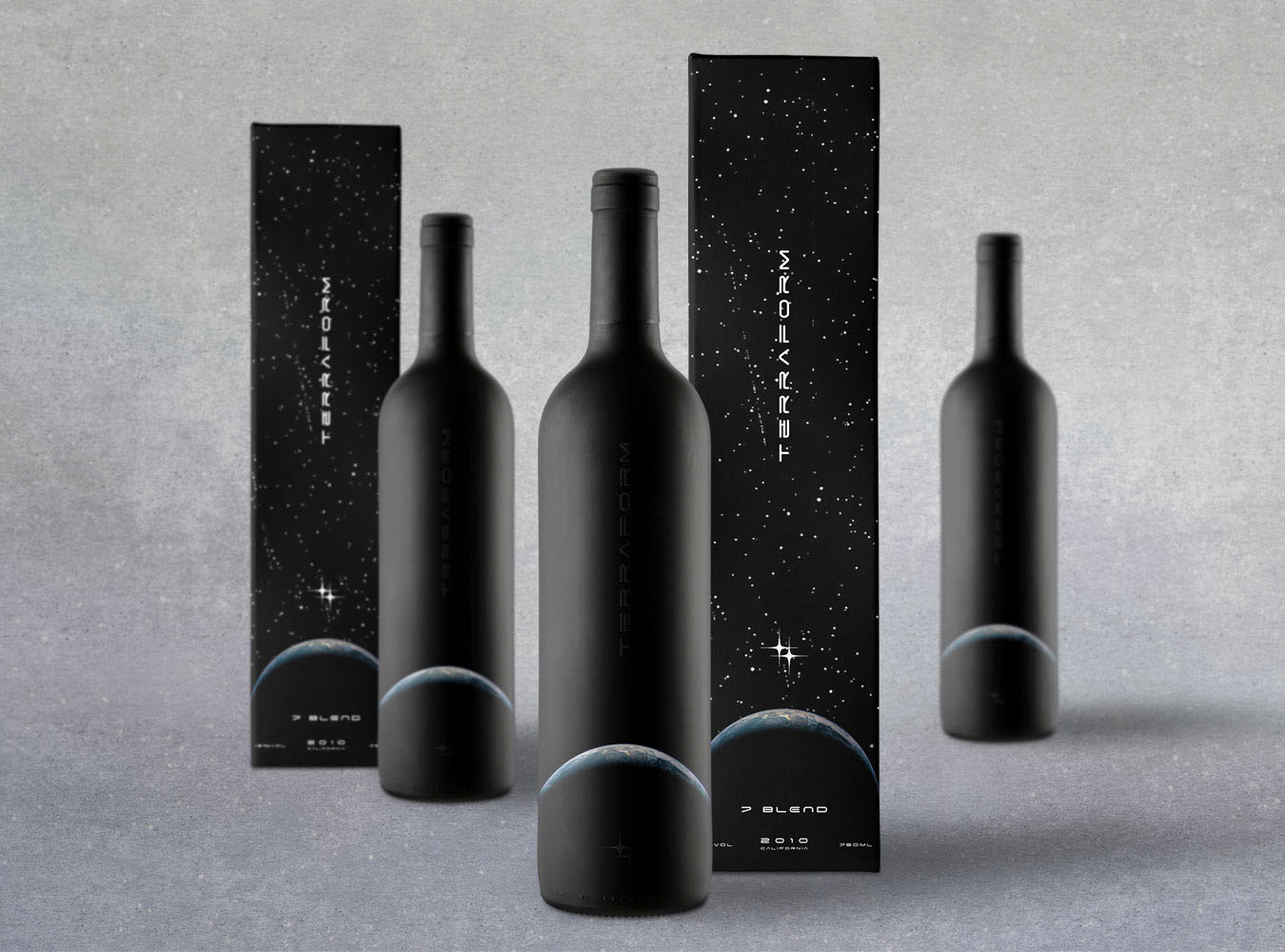 Matte and embossed wine label wraps with retail boxes