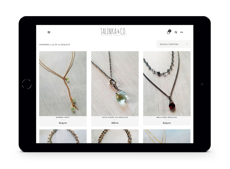 Talinka & Co. Artisan Jewelry Designer Woocommerce Website