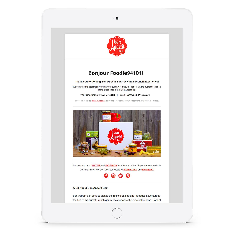 Bon Appétit Box account creation page