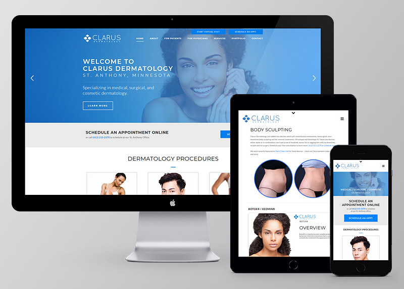 Clarus Dermatology website design and development