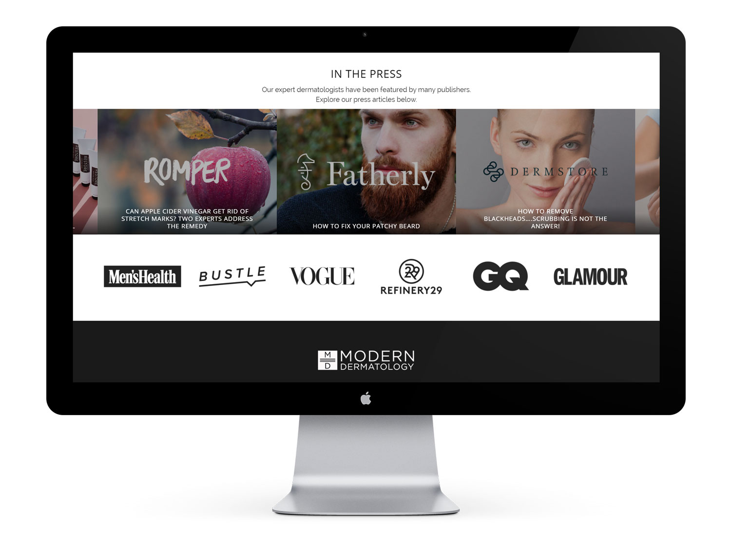 Press Articles slider with logos