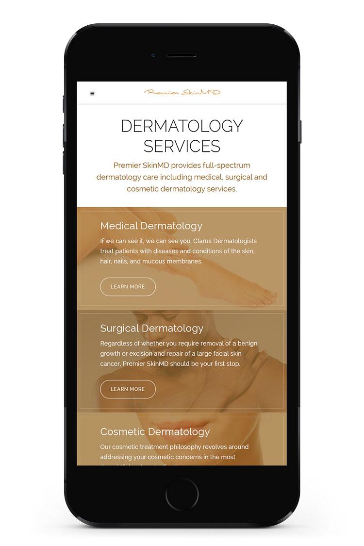 Premier SkinMD mobile view