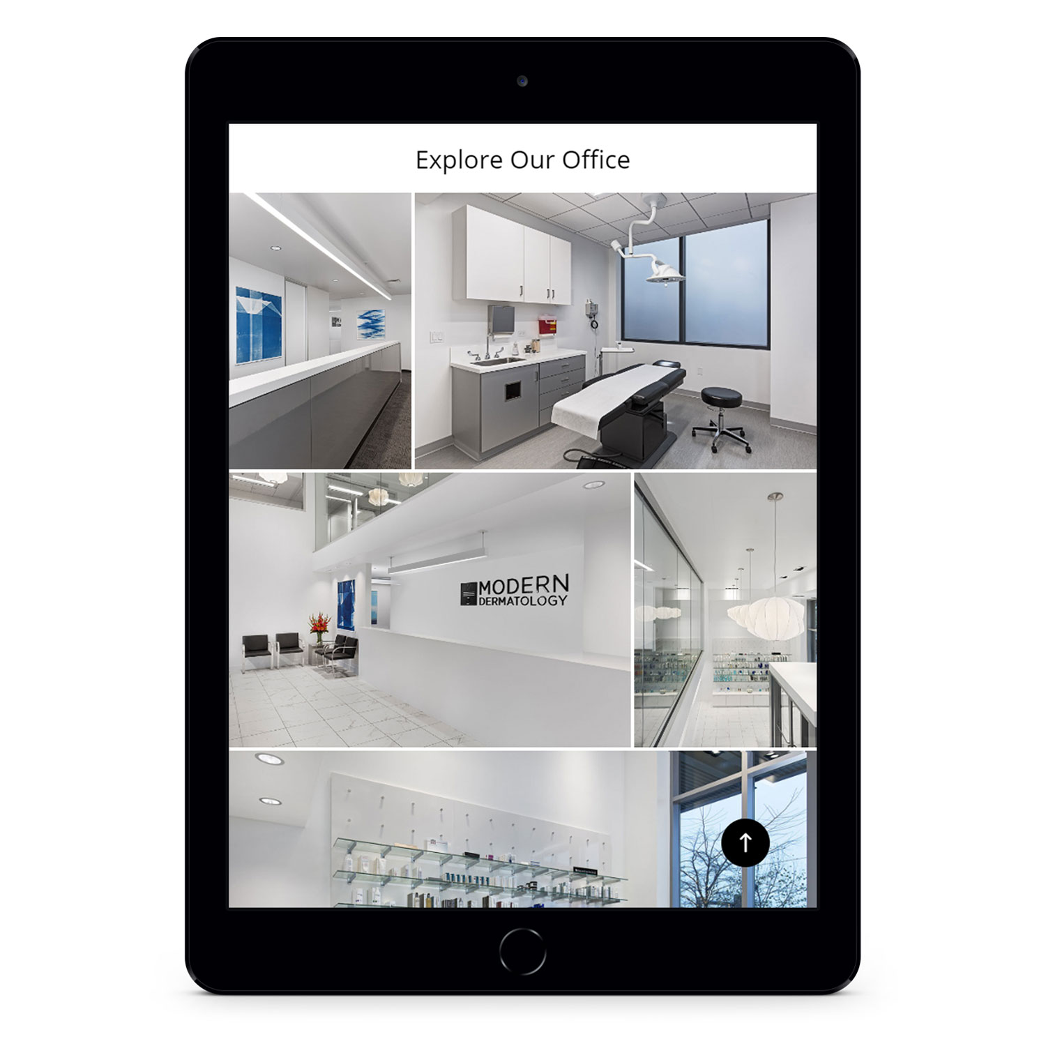 Modern Dermatology office gallery on tablet
