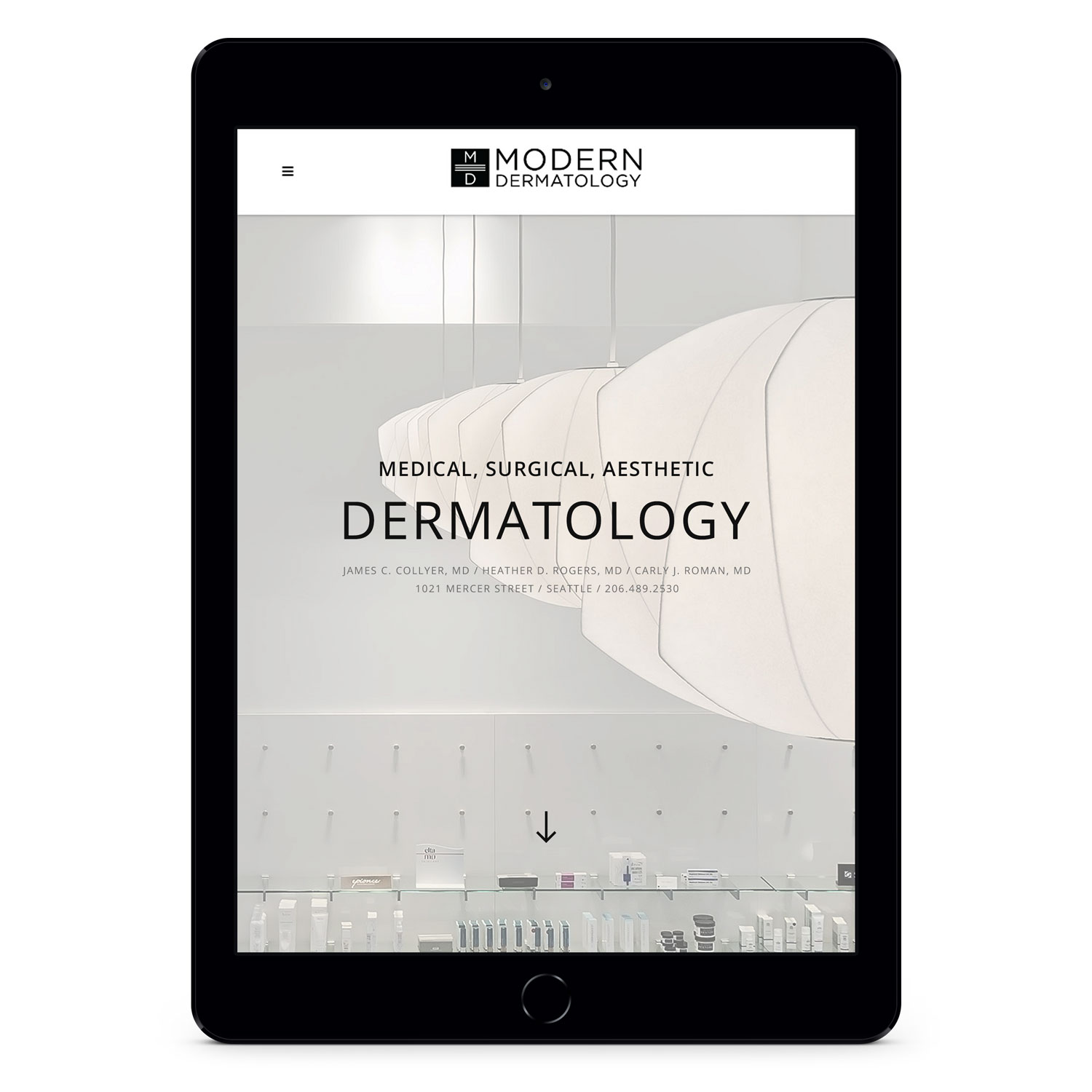 Modern Dermatology homepage on tablet