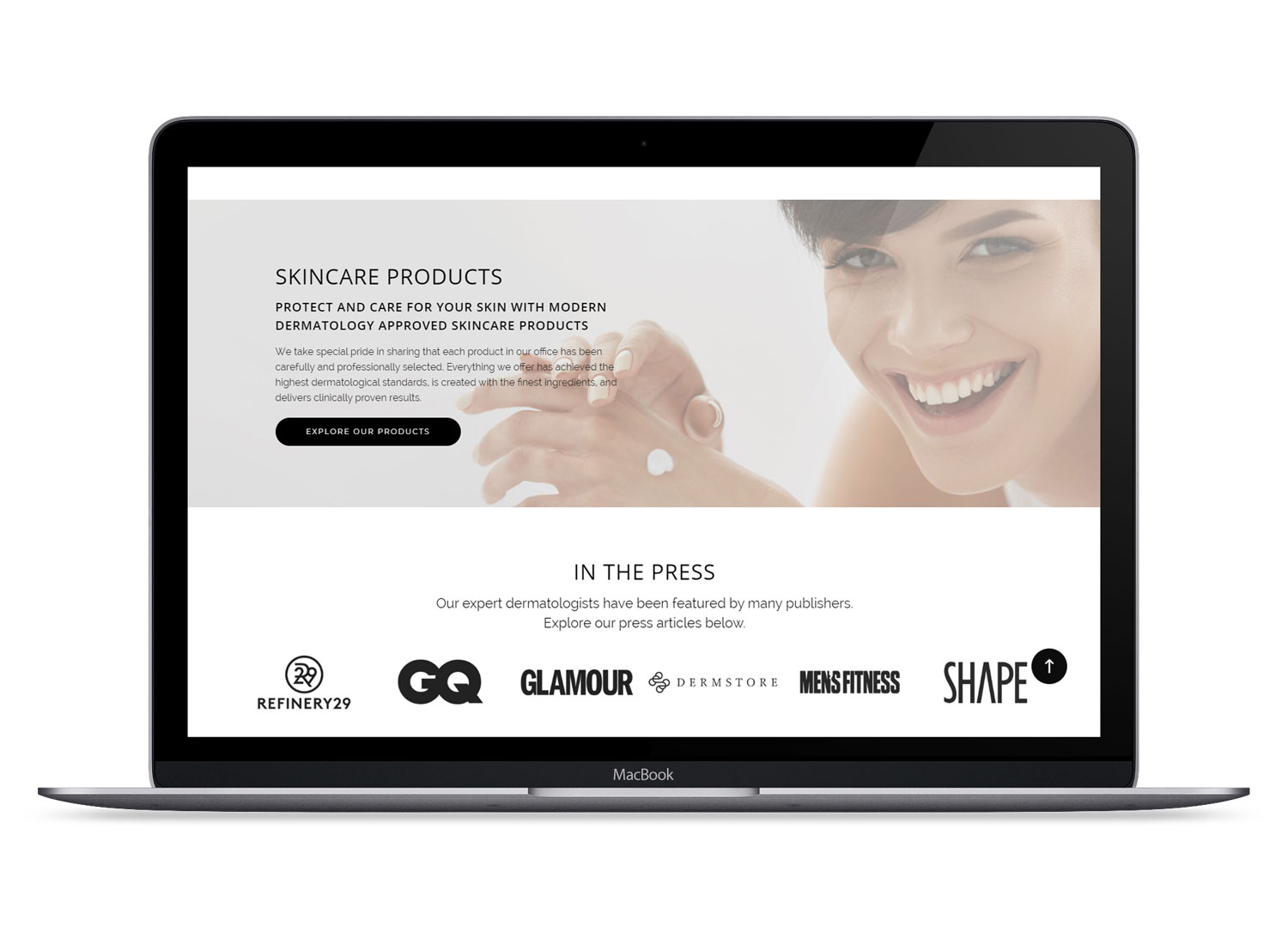 Skincare products and Press slider